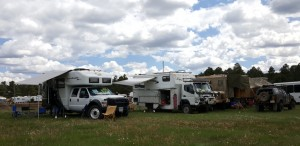 All set up. The EarthRoamer next to us belongs to the Blackwells. On the other side, an interesting collection of vehicles.
