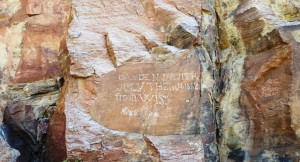 Historic Rock Engraving from the Pioneer trail through the High Rock Canyon.