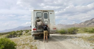 Jon blowing dust off on the back of the Fuso.